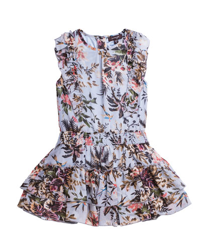 Floral-Print Chiffon Ruffle-Trim Dress, Size 4-6