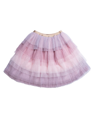 Tiered Ombre Mesh Skirt, Size 7-10