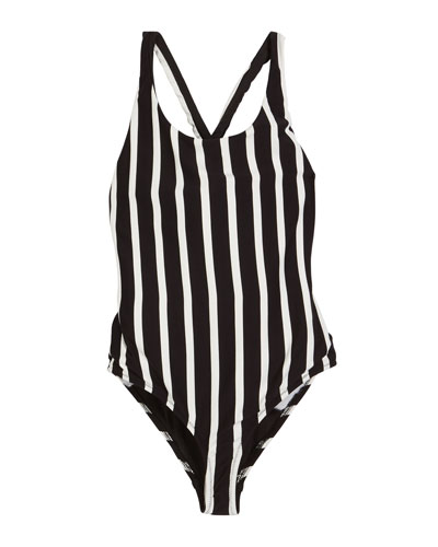 Striped Scoop-Neck One-Piece Swimsuit, Size 4-6