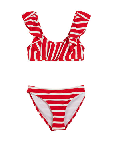 Striped Ruffle Pinafore Two-Piece Swimsuit, Size 4-6