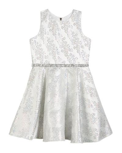 Kelsey Iridescent Brocade Embellished Swing Dress, Size 7-16
