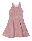 Zoe Danica Metallic Jacquard Pocket Swing Dress, Size