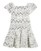 Zoe Kenzie Flocked Knit Zigzag Dress, Size 4-6X