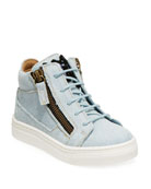 Giuseppe Zanotti Denim Mid-Top Sneakers, Toddler and Matching