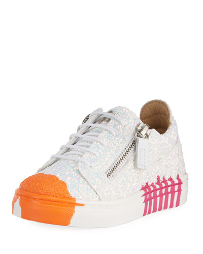 Paint Splashed Glitter Low-Top Sneakers, Toddler
