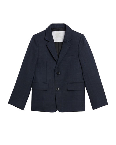 Windowpane Wool Tux Modern Blazer, Size 4-14