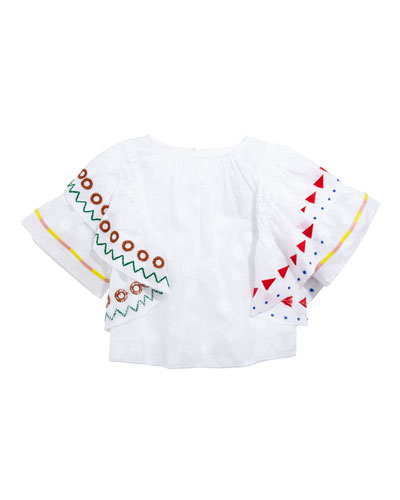 Lily Ruffle-Trim Embroidered Top, Size 4-14