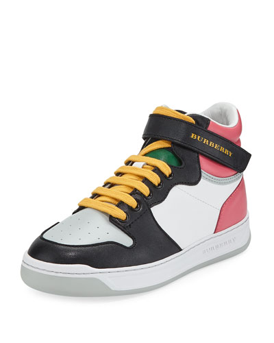 Duck Leather Colorblock High-Top Sneaker, Toddler/Kids