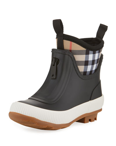 Flinton Short Rubber Rain Boots w/ Check Detail, Toddler