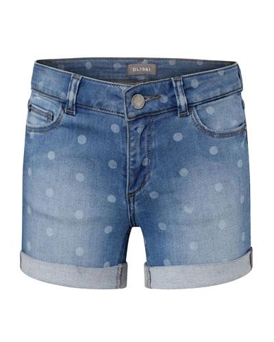 Girls' Piper G Polka Dot Cuffed Denim Shorts, Size 7-16