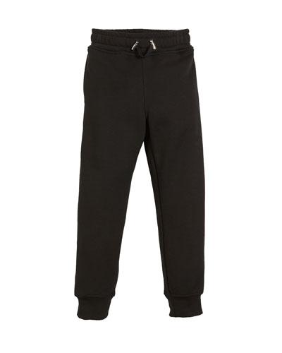 Logo-Sides Cotton Sweatpants, Size 4-10