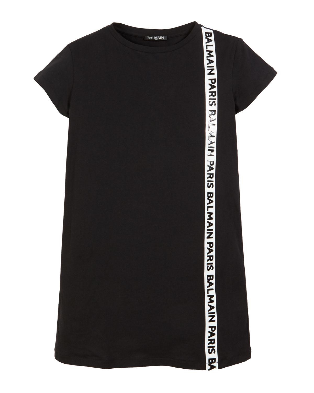 Balmain SHORT-SLEEVE T-SHIRT DRESS W/ SIDE LOGO TRIM
