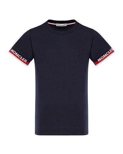Short-Sleeve T-Shirt w/ Knit Logo Cuffs, Size 8-14