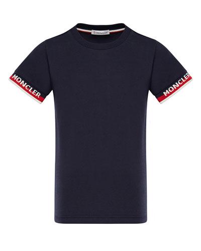 Short-Sleeve T-Shirt w/ Knit Logo Cuffs, Size 4-6