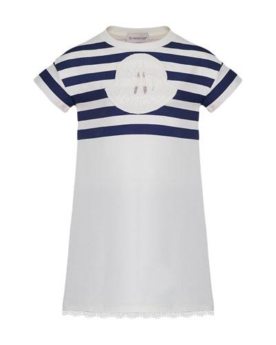 Short-Sleeve Striped Upper Dress, Size 4-6