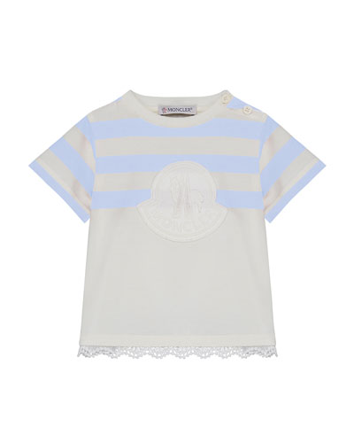 Logo Patch Striped & Solid Top w/ Lace Hem, Size 12M-3