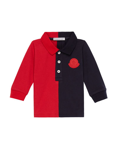 Two-Tone Long-Sleeve Polo Shirt, Size 12M-3