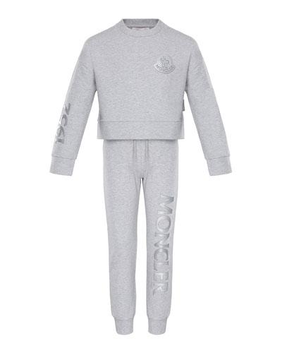 Heathered Sweatshirt w/ Matching Logo Sweatpants, Size 4-6