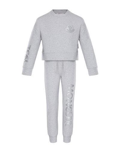 Heathered Sweatshirt w/ Matching Logo Sweatpants, Size 8-14