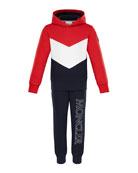 Moncler Tricolor Hoodie w/ Logo Sweatpants, Size 4-6