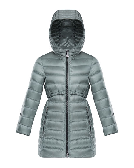 Moncler Suva Quilted Ruffle-Trim Hooded Jacket, Size 4-6