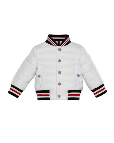 Striped-Trim Quilted Bomber Jacket, Size 12M-3