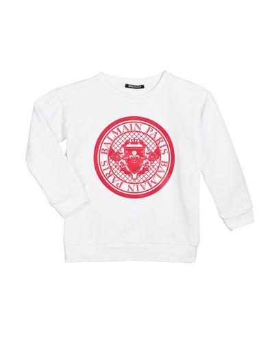 Cotton Logo Sweatshirt, Size 12-16