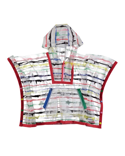Painted Striped Hooded Rain Cape, Size 4-14
