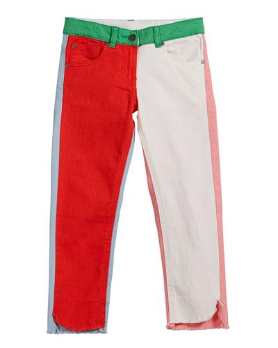 Logo-Sides Denim Pants, Size 6-14