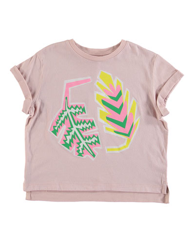 Palm Leaf Rolled-Cuffs Tee, Size 4-14