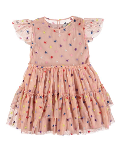 Multicolored Embroidered Star Tiered Tulle Dress, Size 4-14