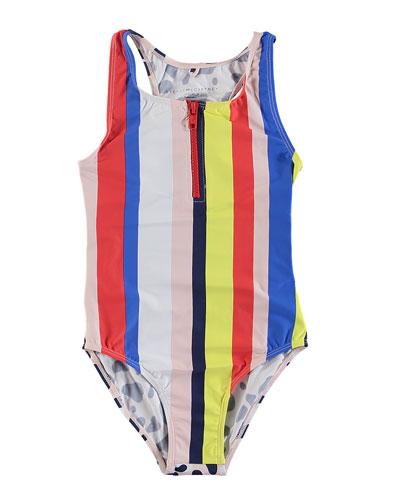 Striped & Camo-Print One-Piece Swimsuit, Size 6-14