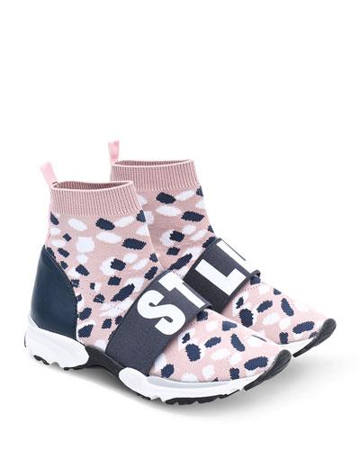 Camo Knit Logo-Strap Sock Sneakers, Kids