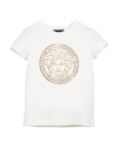 Medusa Head Strass Logo Tee, Size 4-6