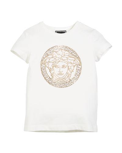 Medusa Head Strass Logo Tee, Size 8-10