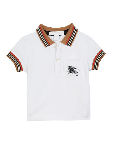 Noel Striped-Trim Logo Pocket Polo, Size 6M-2