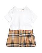 Burberry Short-Sleeve T-Shirt & Plaid Skirt Dress, Size