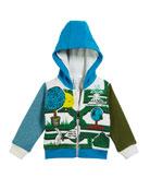 Burberry Maze-Print Zip-Up Hoodie, Size 12M-2