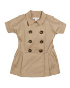Burberry Cynthie Short-Sleeve Double-Breasted Button Dress, Size