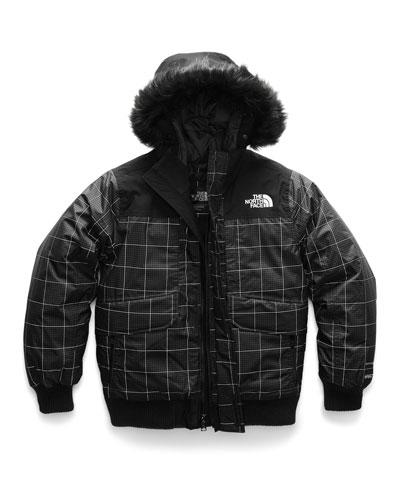 Gotham Down Hooded Grid Jacket w/ Faux-Fur Trim, Size XXS-XL