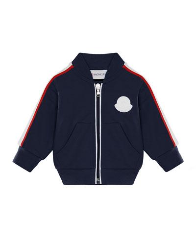 Stripe-Trim Baseball-Collar Cardigan, Size 12M-3