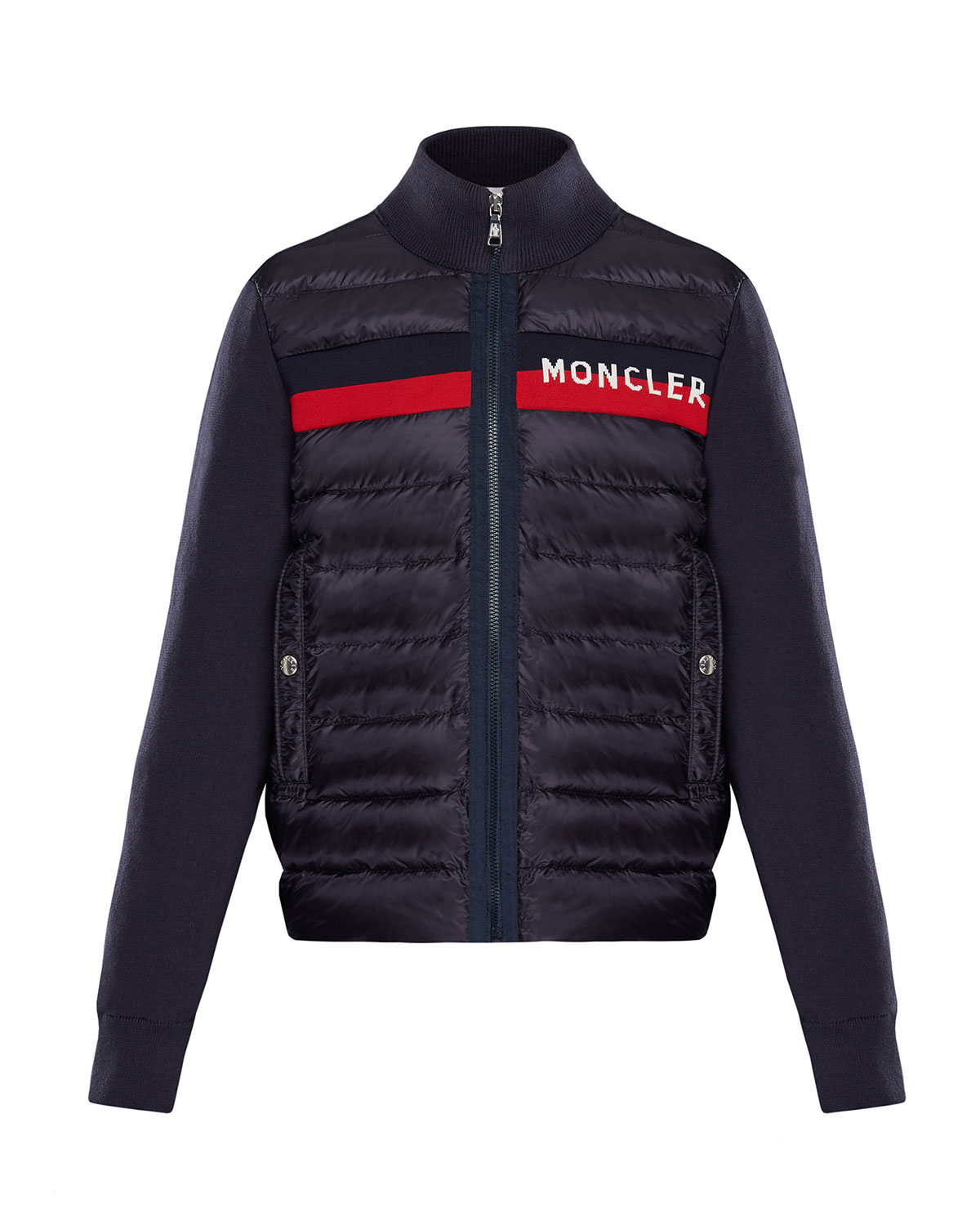 Moncler Unisex Contrast Knit Quilted Jacket - Big Kid In Navy
