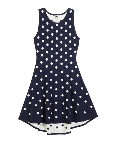 Polka-Dot jacquard Knit Dress, Size 7-16