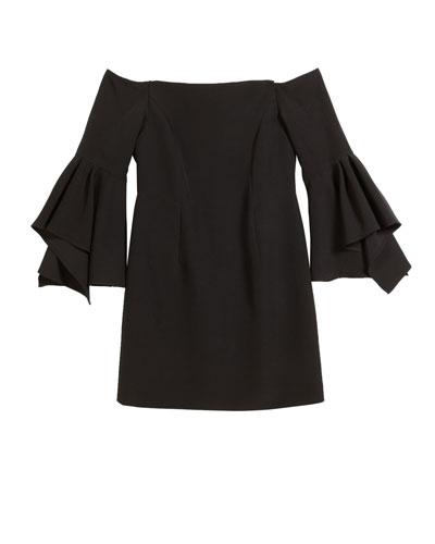 Luna Italian Cady Off-the-Shoulder Dress, Size 7-16