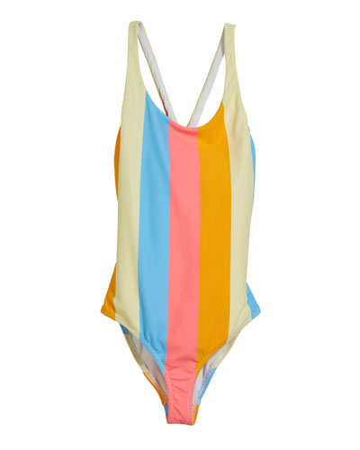 Neon Stripe Scoop One-Piece Swimsuit, Size 7-16