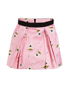 Milly Minis Katie Floral-Print Pleated Skirt, Size 7-16