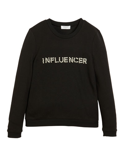 Influencer Pearly Long-Sleeve Top, Size 4-6