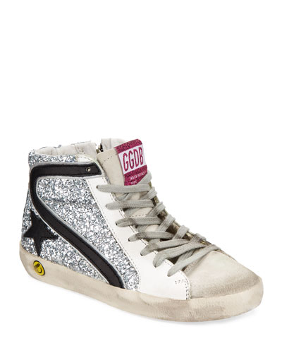 Slide High-Top Sequin Leather Sneakers, Kids