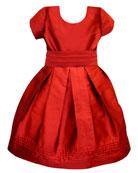 Isabel Garreton Pintucked Taffeta Dress, Size 2-3
