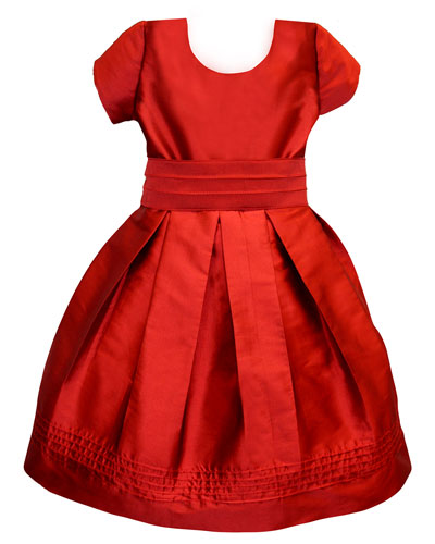 Pintucked Taffeta Dress, Size 2-3